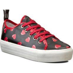 Sneakersy LOVE MOSCHINO - JA15034G11IG000A Nero/Rosso. Szare sneakersy damskie marki Love Moschino, z materiału. W wyprzedaży za 419,00 zł.