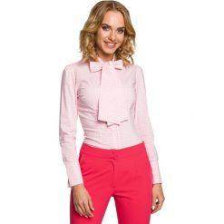 Koszula w Różową Kratkę z Wiązaną Kokardą. Czerwone koszule damskie w kratkę marki Molly.pl, l, eleganckie, z kokardą, z długim rękawem. Za 99,90 zł.
