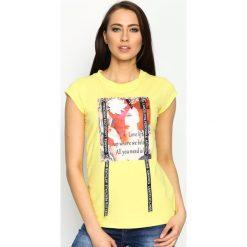 Bluzki, topy, tuniki: Żółty T-shirt Pop Art