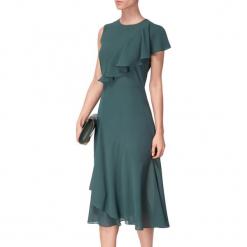 Sukienka w kolorze zielonym. Zielone sukienki asymetryczne marki BOHOBOCO, z asymetrycznym kołnierzem, midi. W wyprzedaży za 959,95 zł.
