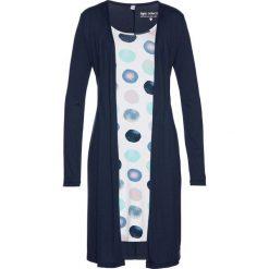 Sukienki: Sukienka shirtowa 2 w 1 bonprix ciemnoniebiesko-biały z nadrukiem