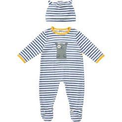 Piżama w paski na zatrzaski + czapeczka 0-36 m-cy. Niebieskie bielizna chłopięca marki La Redoute Collections, w paski, z bawełny. Za 70,52 zł.