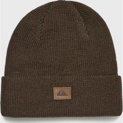 Quiksilver - Czapka. Brązowe czapki zimowe męskie Quiksilver, na zimę, z dzianiny. Za 79,90 zł.