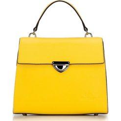 Torebka damska 87-4-571-Y. Żółte kuferki damskie Wittchen, w paski, z tworzywa sztucznego, z tłoczeniem. Za 299,00 zł.