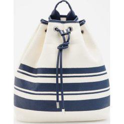 Torebki i plecaki damskie: Plecak typu worek z tkaniny papierowej - Biały