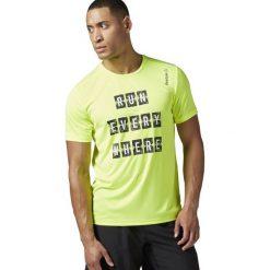 Reebok Koszulka męska Running Essential zielona r. S (BK7280). Szare koszulki sportowe męskie marki Reebok, l, z dzianiny, z okrągłym kołnierzem. Za 116,61 zł.