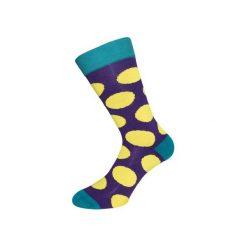 Skarpetki damskie: Fioletowe skarpety w żółte grochy