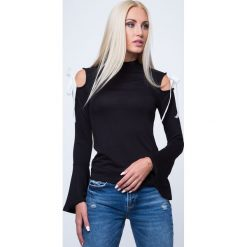 Bluzki damskie: Bluzka z wiązaniami na ramionach czarna MP16206