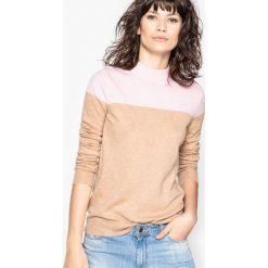 Dwukolorowy sweter. Brązowe golfy damskie La Redoute Collections, xl, z poliamidu. Za 151,16 zł.