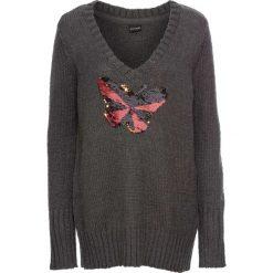 Sweter z cekinami bonprix antracytowy melanż. Szare swetry klasyczne damskie bonprix, z dekoltem w serek. Za 49,99 zł.