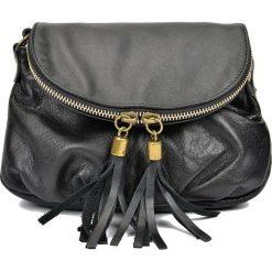 Torebki klasyczne damskie: Skórzana torebka w kolorze czarnym – 22 x 16 x 3 cm