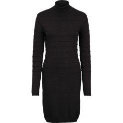 Sukienka dzianinowa z golfem bonprix czarny. Czarne sukienki dzianinowe marki bonprix, w paski, z golfem. Za 89,99 zł.