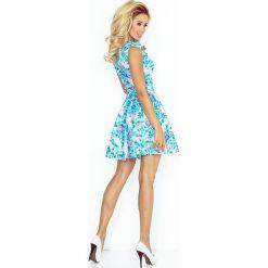 Sukienki: Francesca Sukienka z ekspresem z przodu i kieszonkami - KWIATY NIEBIESKIE DROBNE