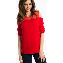 Bluzki damskie: Czerwona Bluzka z Odkrytymi Ramionami 1182