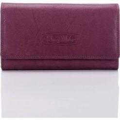 Portfele damskie: Burgund Elegancki skórzany portfel damskie Idealny na prezent