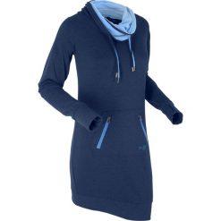 Długa bluza dresowa, długi rękaw bonprix ciemnoniebieski melanż. Szare bluzy rozpinane damskie marki bonprix, melanż, z dresówki, z kapturem, z długim rękawem, maxi. Za 129,99 zł.