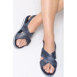 Granatowe Sandały Mellowness. Niebieskie sandały damskie Born2be, z materiału, na obcasie. Za 69,99 zł.
