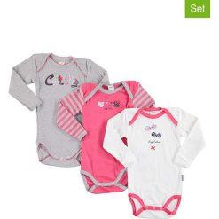 Body niemowlęce: Body (3 szt.) w kolorze szarym, różowym i białym