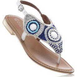 Klapki damskie: Sandały skórzane japonki bonprix biały