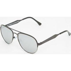 Okulary przeciwsłoneczne męskie aviatory: Czarne okulary przeciwsłoneczne z podwójnym mostkiem