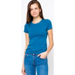 Bluzki damskie: Bluzka basic krótki rękaw okrągły dekolt niebieska