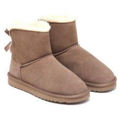 Skórzane botki w kolorze khaki. Brązowe buty zimowe damskie Carla Samuel, na zimę. W wyprzedaży za 219,95 zł.