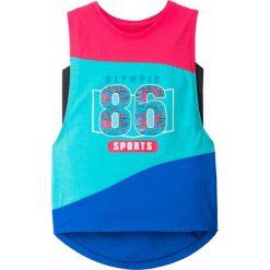 Top sportowy (2 części) bonprix różowo-niebieski. Czerwone bluzki dziewczęce marki bonprix, z nadrukiem, z kontrastowym kołnierzykiem. Za 39,98 zł.