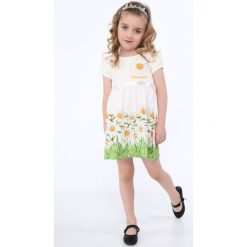 Sukienka w kwiatki kremowa NDZ8162. Białe sukienki dziewczęce w kwiaty Fasardi. Za 59,00 zł.