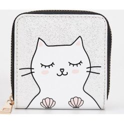 Portfele damskie: Portfel z kotkiem - Biały