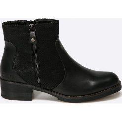 Big Star - Botki. Czarne buty zimowe damskie BIG STAR, z materiału, retro, z okrągłym noskiem, na obcasie. W wyprzedaży za 119,90 zł.