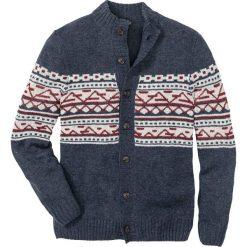 Sweter rozpinany Regular Fit bonprix niebiesko-beżowo-bordowy melanż. Niebieskie kardigany męskie marki bonprix, l, melanż. Za 74,99 zł.