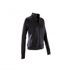 Bluza na zamek fitness kardio 900 damska. Czarne bluzy rozpinane damskie marki DOMYOS, z elastanu. Za 119,99 zł.