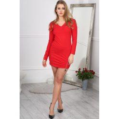 Sukienki: Czerwona Sukienka z Suwakiem 3217