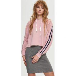 Bluzy damskie: Bluza z lampasami – Różowy
