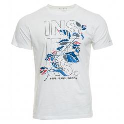 Pepe Jeans T-Shirt Męski Leone L Biały. Białe t-shirty męskie z nadrukiem Pepe Jeans, l, z jeansu. Za 195,00 zł.