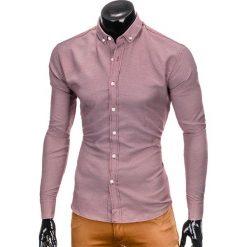 KOSZULA MĘSKA Z DŁUGIM RĘKAWEM K401 - BORDOWA. Brązowe koszule męskie na spinki marki Ombre Clothing, m, z aplikacjami, z kontrastowym kołnierzykiem, z długim rękawem. Za 69,00 zł.