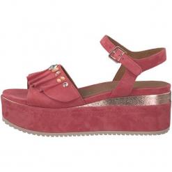 Tamaris Sandały Damskie 38 Różowy. Czerwone sandały damskie Tamaris, z aplikacjami, ze skóry, na wysokim obcasie. W wyprzedaży za 239,00 zł.