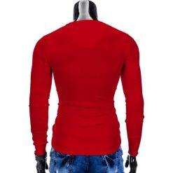 SWETER MĘSKI E74 - CZERWONY. Czerwone swetry klasyczne męskie Ombre Clothing, m, z bawełny, z dekoltem w serek. Za 49,00 zł.