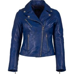 Bomberki damskie: Skórzana kurtka w kolorze niebieskim