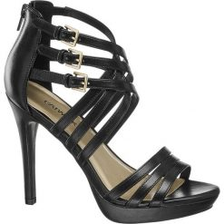 Sandały na obcasie Catwalk czarne. Czarne sandały damskie marki Catwalk, w paski, z materiału, na obcasie. Za 119,90 zł.