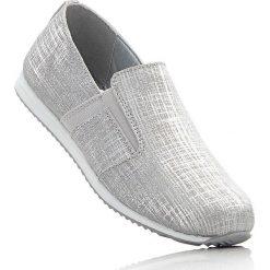 Buty wsuwane ze skóry welurowej bonprix srebrny metaliczny. Szare buty sportowe damskie marki bonprix, z materiału. Za 139,99 zł.