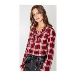 Koszula w kratę. Szare koszule jeansowe damskie marki Promod, z falbankami. Za 119,90 zł.