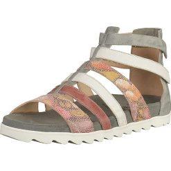 Rzymianki damskie: Skórzane sandały w kolorze szaro-jasnoróżowym