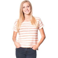 """Koszulka """"Adelaide"""" w kolorze pomarańczowo-kremowym. Brązowe topy sportowe damskie marki Roxy, xs, w paski, z krótkim rękawem. W wyprzedaży za 105,95 zł."""