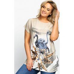 T-shirty damskie: Beżowy T-shirt Powdery Birds