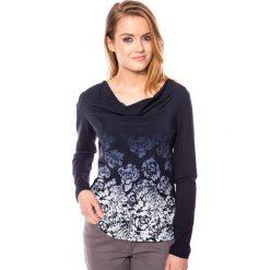 Granatowa bluzka w róże QUIOSQUE. Czarne bluzki longsleeves marki bonprix, w paski, z dekoltem woda. W wyprzedaży za 49,99 zł.