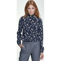 Bluzki damskie: Granatowa Bluzka Koszulowa ze Stójką Wzór w Kwiaty