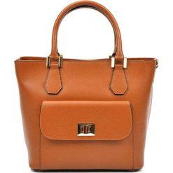Torebki klasyczne damskie: Skórzana torebka w kolorze jasnobrązowym – (S)26 x (W)37 x (G)16 cm