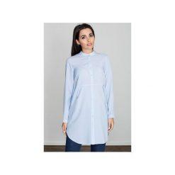Sukienka M545 Niebieski. Szare sukienki marki FIGL, m, z bawełny, eleganckie, z asymetrycznym kołnierzem, z długim rękawem. Za 129,00 zł.