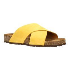 Klapki damskie: Skórzane klapki w kolorze żółtym